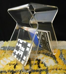 SCARCE MID-20TH C AMERICAN VINT POLISHED HVY-GAUGE LUCITE TABLE/STOOL/ZINE RACK