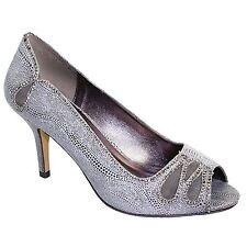 FLR237 Rene Peep Toe Metálico Diamante Malla Slip On Court Shoe Tacones Embrague