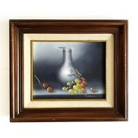 Framed Vase Fruit Still Life Oil On Canvas Original Painting Signed Jenkins