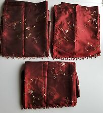 """Drapes 3 Valances Attached Panels Red Embroidered Beaded Fringe Floral 54""""x82"""""""