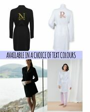 Personalised Name Initial Monogram Cotton Robe Dressing Gown Bridal Hen Bride