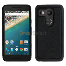 Hybrid Rubber Hard Case Skin for Android Phone LG Google Nexus 5X Black 50+SOLD