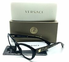Versace Black Eyeglasses MOD 3216 5156 54 mm Shiny BK Gold Glitter
