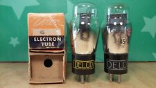 Perfectly Matched Pair of Sylvania (Delco label) Type 45 NOS NIB Vacuum Tubes
