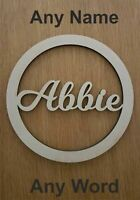 ANY NAME / WORD Personalised wooden name hoop wreath - Circle Loop Plaque