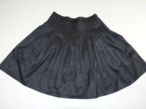 Talbots Women's A-Line Skirt Size 12 Petite Black 100% Silk Pleated Lined 12P