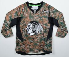 Chicago Blackhawk Youth Sz L/XL Camouflage Reebok Sewn NHL Hockey Jersey
