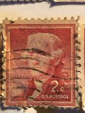Thomas Jefferson 2cent Antique Postage Stamp- Red, Used