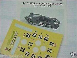 1/43 DECALS DECAL FERRARI 512S 1000KM SPA Francorchamps 1970