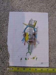 "MICHAEL BANKS MODERN FOLK ART Drawing ABSTRACT  Face Pop 7.5 x 9.75"""