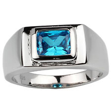 Sterling Silver Men Ring Jewelry Oblong Simulated Blue Topaz CZ Size 11 Birthday