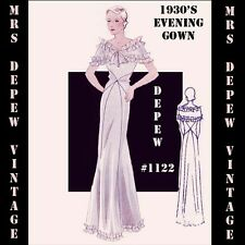 Vintage Sewing Pattern 1930's Evening or Wedding Gown in Any Size Depew #1122
