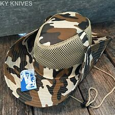 Australian Outback Safari Bucket Flap Boonie Hat w/MESH NEW HT-351 BROWN CAMO