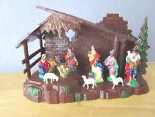 Vintage Hong Kong Plastic Nativity Creche Glitter Roof Animals - Hard To Find