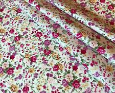 ROSE & HUBBLE PINK SUMMER ROSES FLORAL WHITE FABRIC 100% COTTON 112CM HALF METRE