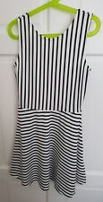 Girl's Sleeveless White Navy Stripe Summer Dress 10-12 yrs