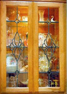 Custom stained glass  cabinet insert windows Heritage Design