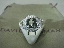DAVID YURMAN ALBION AUTHENTIC 8MM PRASIOLITE DIAMOND RING SIZE 6  D.Y. POUCH