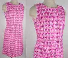 New sz 12 Sp'13 Oscar de la Renta pink and white soft tweed runway dress