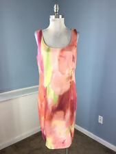 New Ann Taylor M 10 Pink Green Floral Sheath dress Career Cocktail Sleeveless