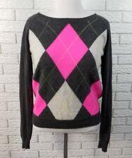 100% Cashmere Argyle Sweater XL Gray Hot Pink Apt 9