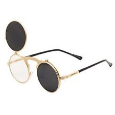 Flip-up Round Lens Metal Frame Steampunk Sunglasses Goggles Dwayne Wayne