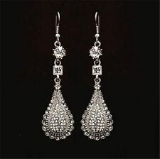 18K White Gold plated Rhinestones Crystal Water Drop Long Earrings Jewelry Gift