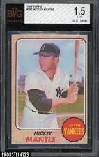 1968 Topps #280 Mickey Mantle New York Yankees HOF BVG 1.5 FAIR