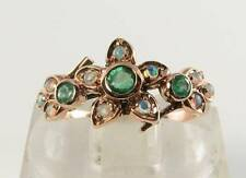 CLASS 9K 9CT ROSE GOLD COLOMBIAN EMERALD OPAL ART DECO INS FLOWER RING