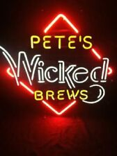 """New Pete's Wicked Brews Beer Light Lamp Bar Pub Neon Sign 24""""x20"""""""