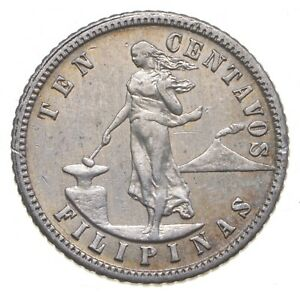 SILVER Roughly Size of Dime 1904 Philippines 10 Centavos World Silver Coin *007