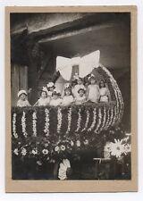 PHOTO Enfant Char à Fleurs Landau Curiosité Fête Cérémonie 1930 Marguerite Noeud