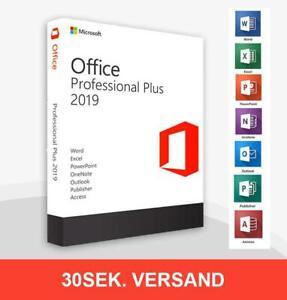 Office 2019 Professional Plus Lizenz, 32/64bit, Vollversion, Lebenszeit