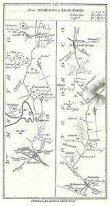 Antique map, Roads from Athlone to (i) Longford (ii) Rosscommon (iii) Lanesboro
