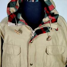 Woolrich Mens Coat Parka Size XL Tan Full Zip Hooded Red Plaid Wool Lining