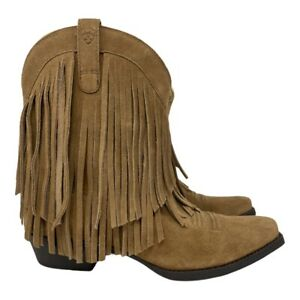 ARIAT Gold Rush Western Fringe Snip Toe Tan Leather Boot Women's Size 5
