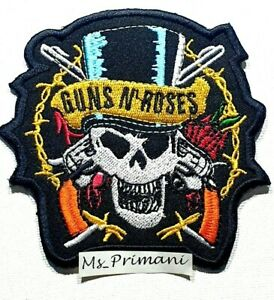 Embroidered guns and Roses Sew/Iron on Patch Biker Rock Music badge 9 x 9 CM