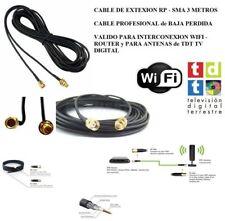 CABLE ALARGADOR DE ANTENA WIFI TDT PR SMA WIRELESS 2,4 GHZ 3 M EXTENSION ROUTER