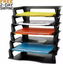 Desk Organizer Letter Tray Desktop Paper Folder Office Plastic 6 Tier Black New