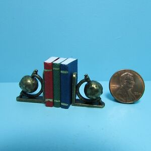 Dollhouse Miniature World Globe Bookends with 3 Books with Pages S1614