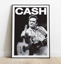More details for johnny cash poster, johnny cash art print, vintage rock band print, gift for him