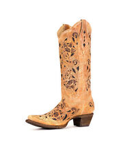 Women's Corral Western Boot Antique Tan Saddle Brushed Laser / Dark Inlay A1970