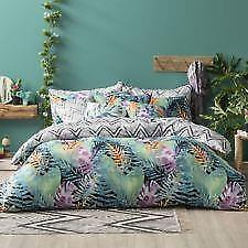 Double Bed Tropical Palm Leaf Print Doona / Quilt Cover & Pillowcase Set