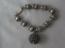 SUPERB VTG RAFAEL DOMINGUEZ STERLING SILVER ETRUSCAN BEAD BRACELET & BALL CHARM