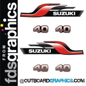 Suzuki 40hp 2 stroke outboard engine decals/sticker kit