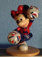 Disney Minnie Mouse Cheerleader Ceramic Figure Blue and Red