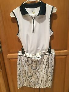 GREG NORMAN PLAYDRY SNAKE ANIMAL PRINT GOLF OUTFIT S/M 1/4 ZIP TOP FREE SHIPPING