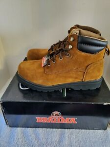 NEW BRAHMA  UNISEX BROWN LEATHER UPPER SUEDE FINISH WORK BOOTS MENS 8 WOMENS 9.5