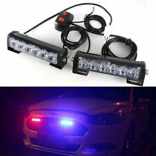 2 x6LED Car Emergency Beacon Grille LED Light Bar Hazard Strobe Warning Red Blue