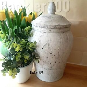 Shabby Chic ceramic GINGER JAR rustic stone finish decor display large ornament